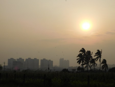 Sunset over Taiwan skyline